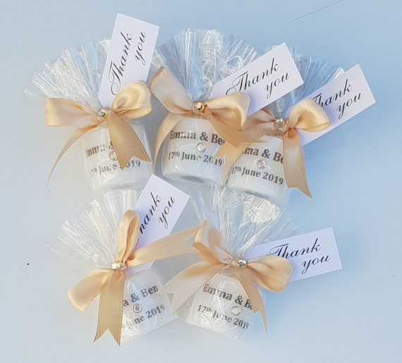Wedding Candle Favour.  Personalised Wedding Keepsake Thank You Gift (QTY 1)