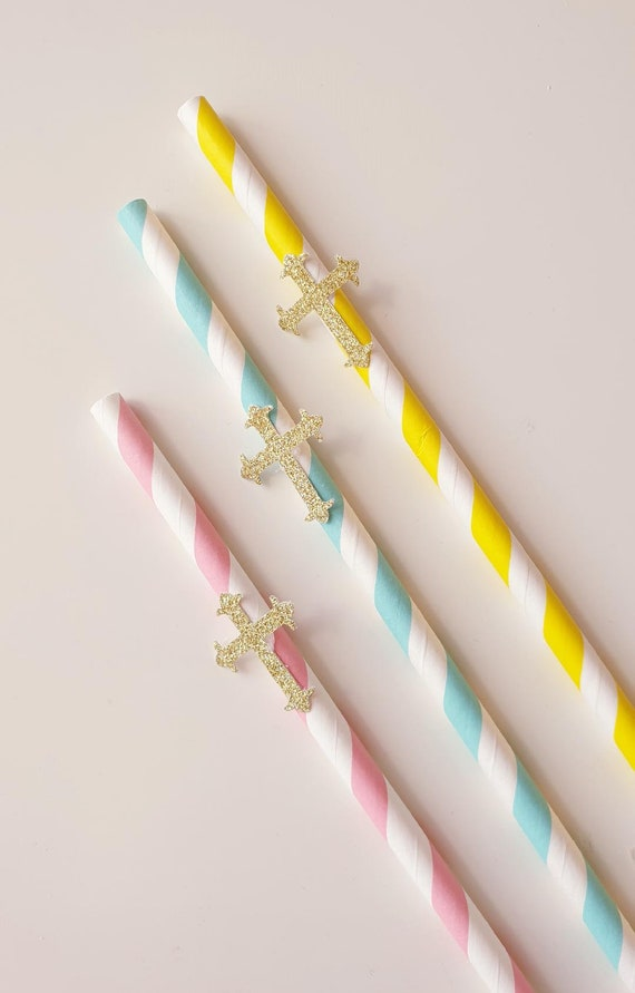 Paper Straws Blue Pink Yellow Striped Party Baptism Christening Holy Communion (Qty 25)