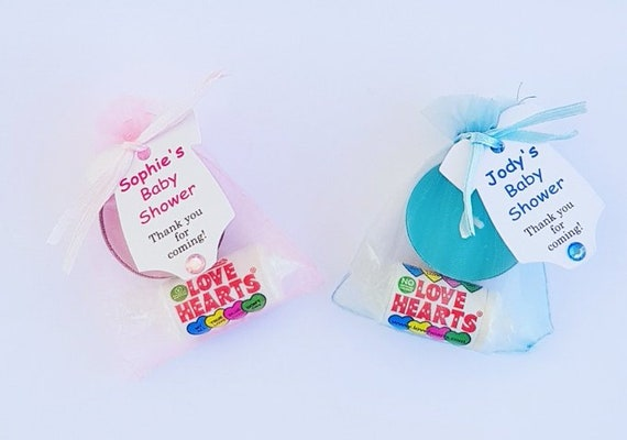 Baby Shower Favours Tealight Candle with Love Hearts Gender Reveal Party Favours (QTY 1)
