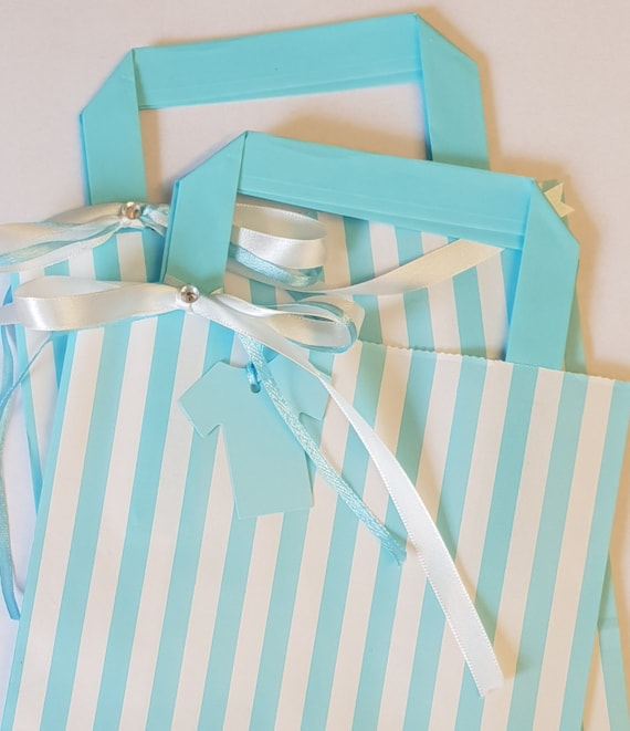 Baby Shower Favour Bags Blue Candy Stripe with Tag (Qty 1)