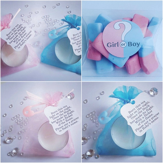 Gender reveal baby shower favours package.  Pillow box favours. Candy sweet favours (Qty 40)