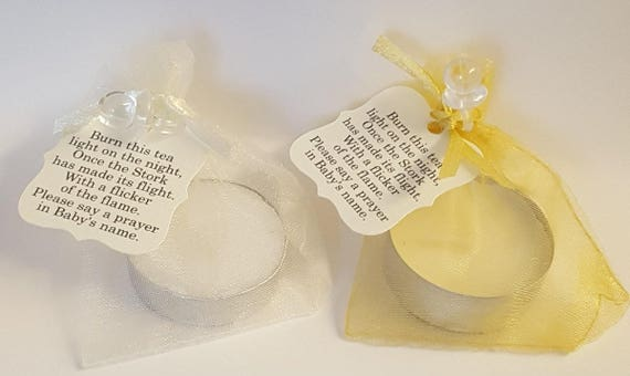 Baby Shower Tealight Candle Favours with poem tag in Gold and Ivory Gender Reveal Favours (Qty 1)