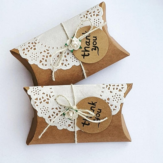 Kraft and Lace Pillow Box Wedding Favours Thank You Gift Rustic Country Themed Party (Qty 10)