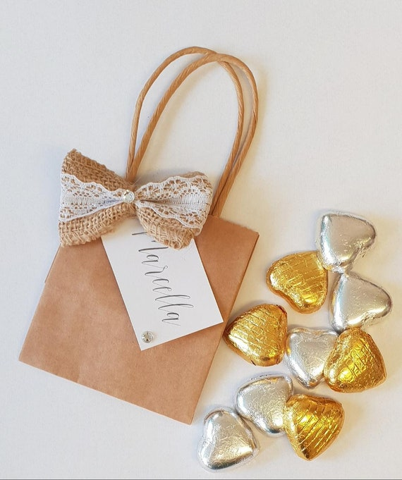 10 x Kraft Brown Rustic Mini Favour Bags Prefilled with Belgian Chocolate Hearts Wedding Bridal Shower Party Gifts