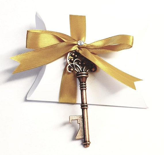 Pillow Box Favours Skeleton Key Bronze  Bottle Opener Wedding Favour Party Keepsake (QTY 1)