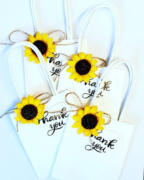 Sunflower mini Favour Bags Gift Bag Favours Baby shower Bridesmaid Thank you favour tags