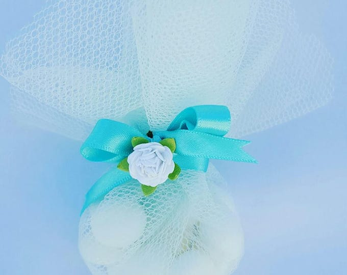 Candy favours in organza  or tulle bag. Weddings or baby shower favours.