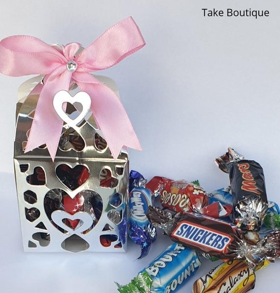 Party Favours Prefilled Silver Box with Chocolates Weddings Baby Shower Birthday