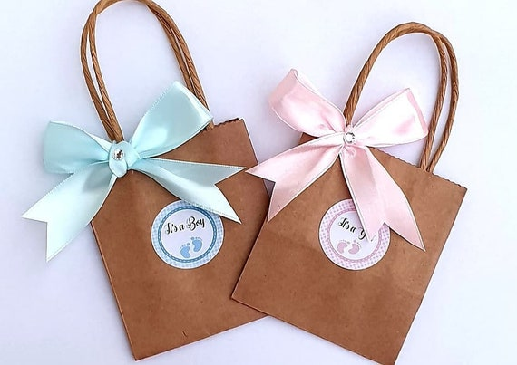 Mini Baby Shower Favour Bags Kraft Brown Bags Gender Reveal Gift Mum to Be (Qty 10)