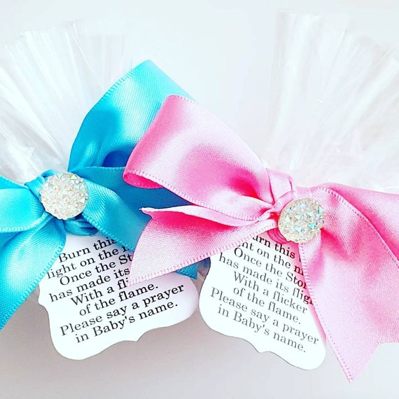Baby Shower Favours Tealight Candle Poem Tag Gender Reveal Mum to Be Favours (Qty 1)