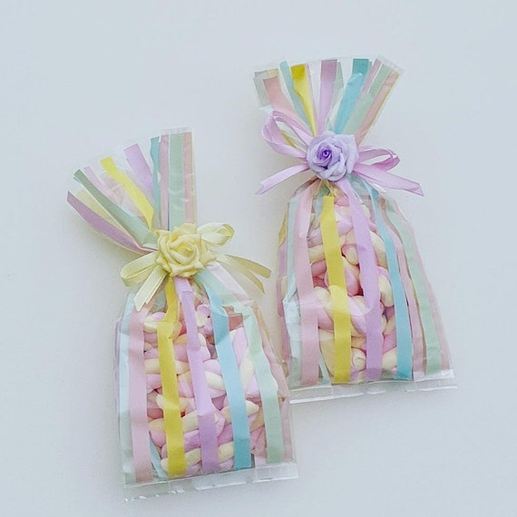 Sweet Cello Bags Marshmallow Flumps Baby Shower Favours Bridal Wedding Childrens Party (Qty 5)