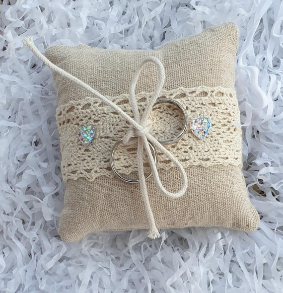 Wedding Ring Pillow Cushion Hessian and Lace Ring Bearer Rustic Boho Theme