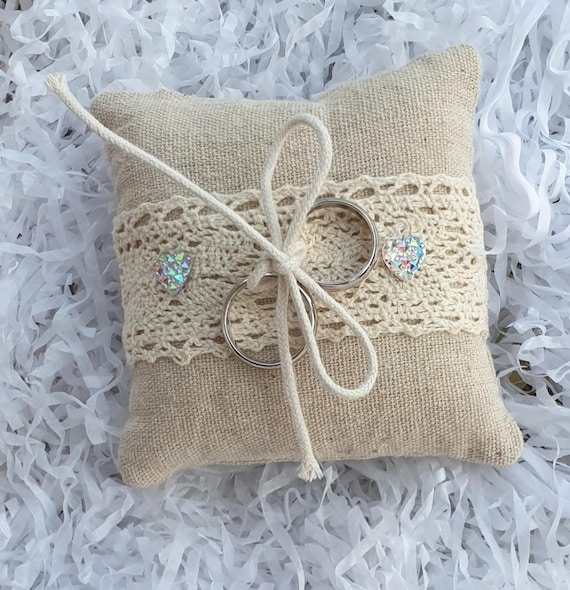 Wedding Ring Pillow Cushion Hessian and Lace Ring Bearer Rustic Boho Theme (Qty 1)