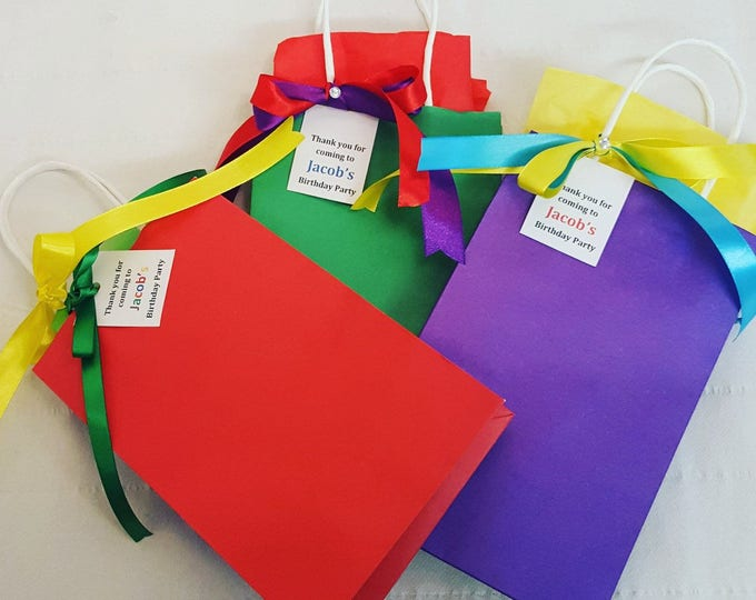 Rainbow personalised party favour bags baby shower christening hen party wedding