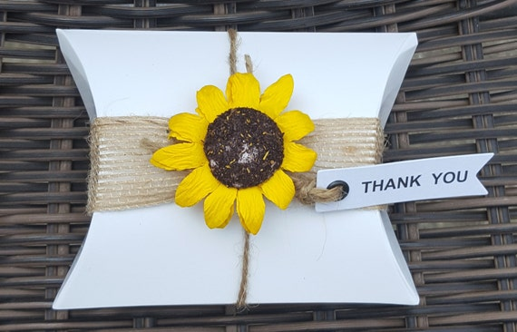 10 White Pillow Boxes Favours Wedding  Baby Shower Party  Rustic Shabby Chic Theme Sunflower