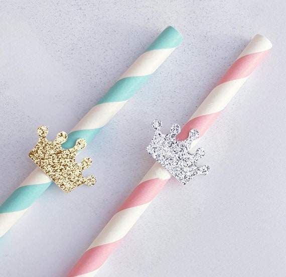Paper Straws Candy Striped Glitter Crown Birthday Party Baby Shower Princess Prince (QTY 25)