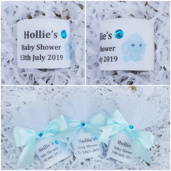 Personalised Baby Shower Candle Favour with Elephant Gender Reveal Baby Shower Favours