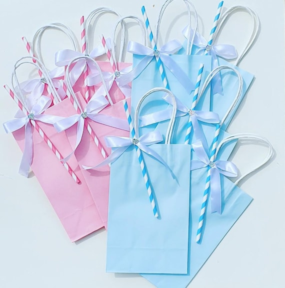 Baby Shower Favour Bags with Handle Gender Reveal Treat Goodie Bags Childrens Birthday Party (Qty 10)