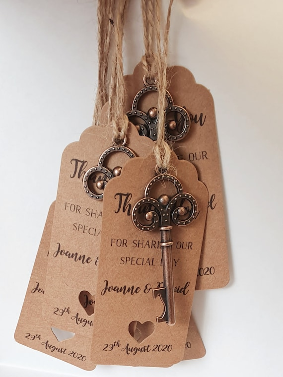 Skeleton Key Bottle Opener Personalised Wedding Favours Rustic Keepsake (Qty 20)