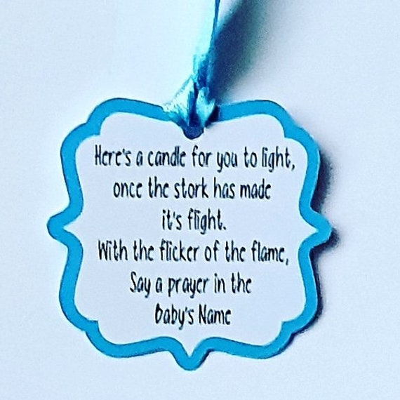 20 Baby Shower Favour Tags. Poem Tags  Gender Reveal Tealight Candle