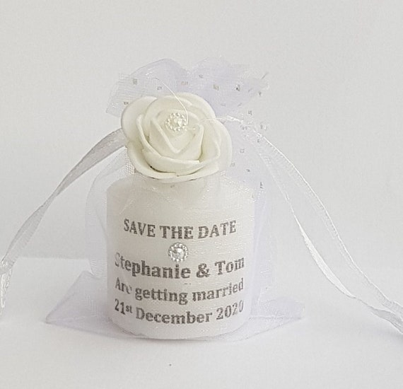 Save The Date Personalised Candle in Organza Bag Invitation Wedding Baby Shower Party Favours Keepsake