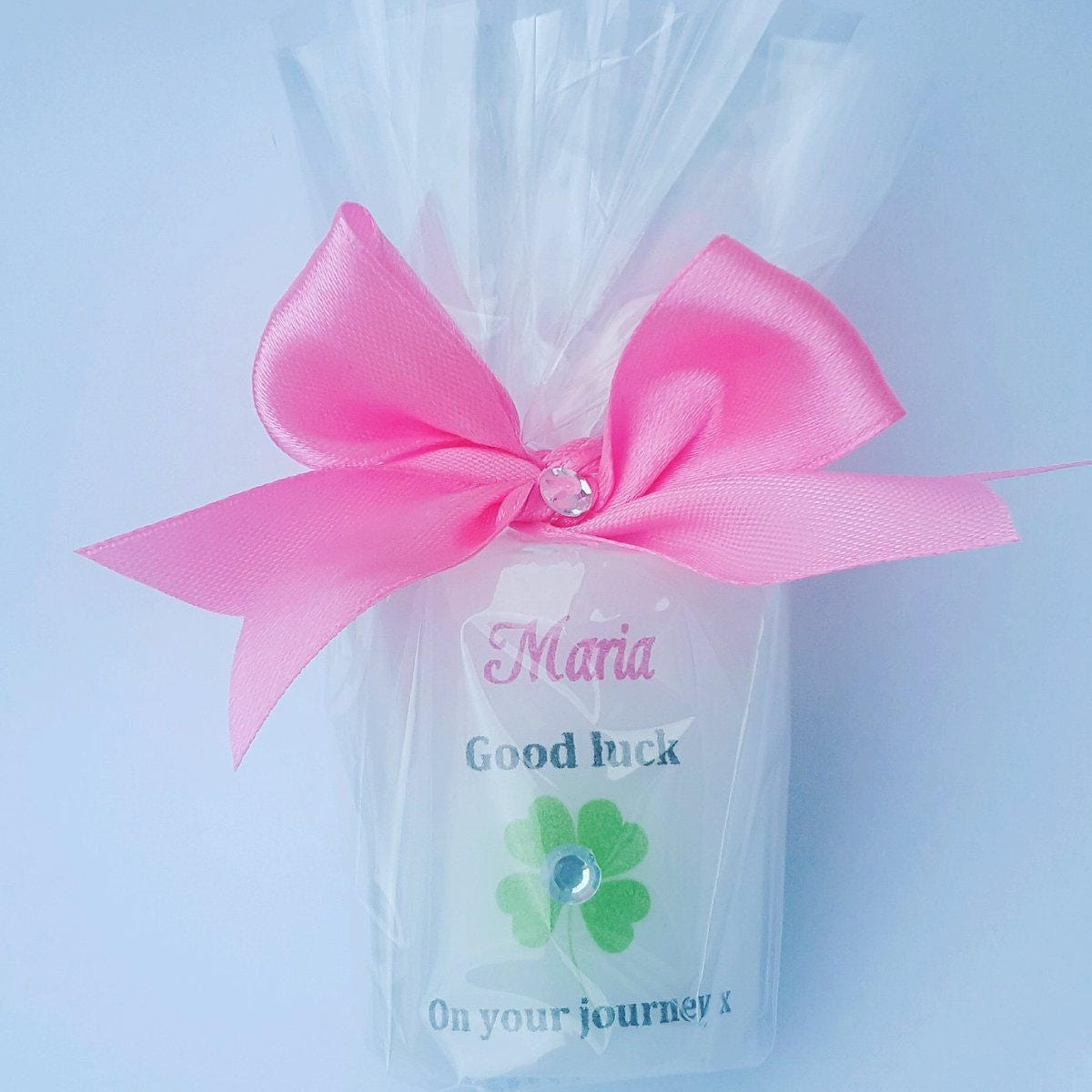 Personalised good luck candle with four leaf clover