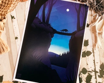 Dark Full Moon Landscape Print art (Shipping include tracking number)