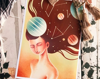 Cute Universe Girl Art Print (Shipping include tracking number)