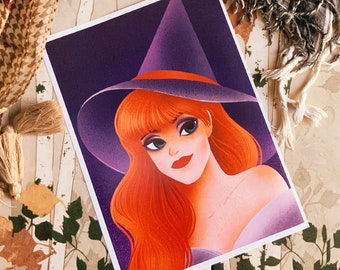 Colorful Redhead Witch Art Print (Shipping include tracking number)