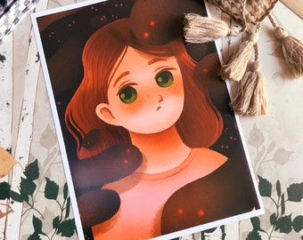 Sad Depressed Girl Art Print (Shipping include tracking number)
