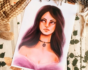 Beautiful Purple Witch Art Print (Shipping include tracking number)