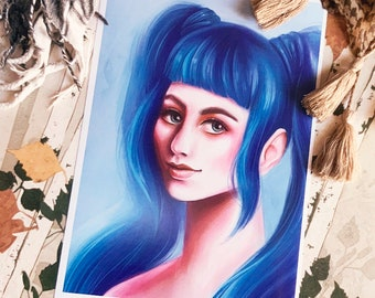 Colorful Blue Hair Girl Art Print (Shipping include tracking number)