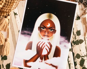 Cute Moon Girl Art Print (Shipping include tracking number)