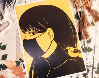 Duotone Wear a Mask Girl Art Print (Shipping include tracking number)