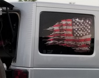 Tattered USA Flag Black//Gray window decal State of New Mexico various sizes