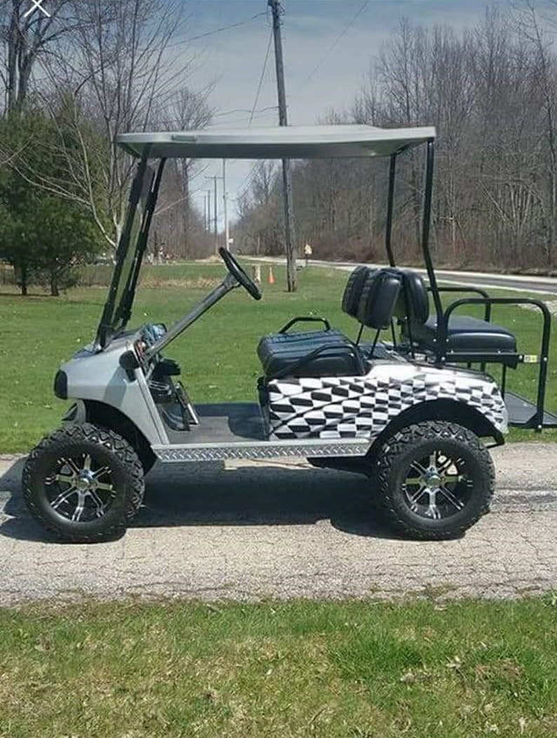 LARGE Golf Cart Checkered Flag Rear Fender Wrap Graphics Decal Decals EZGO  Club Car Yamaha