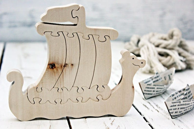 Viking Ship Wooden Ship Puzzle Wooden Puzzle Waldorf Wood Toys Wooden Toys Educational Toys Eco Toys Montessori Toys Christmas Toys
