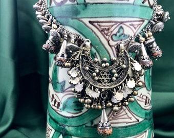 Vintage Moroccan Pendant and Coral Drops Necklace