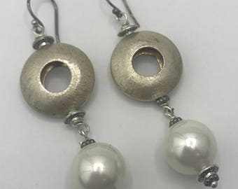 Silver Colored Circles with Faux Pearl Drops