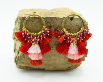 Circle Stud Tassel Earrings (3 Color Ways)