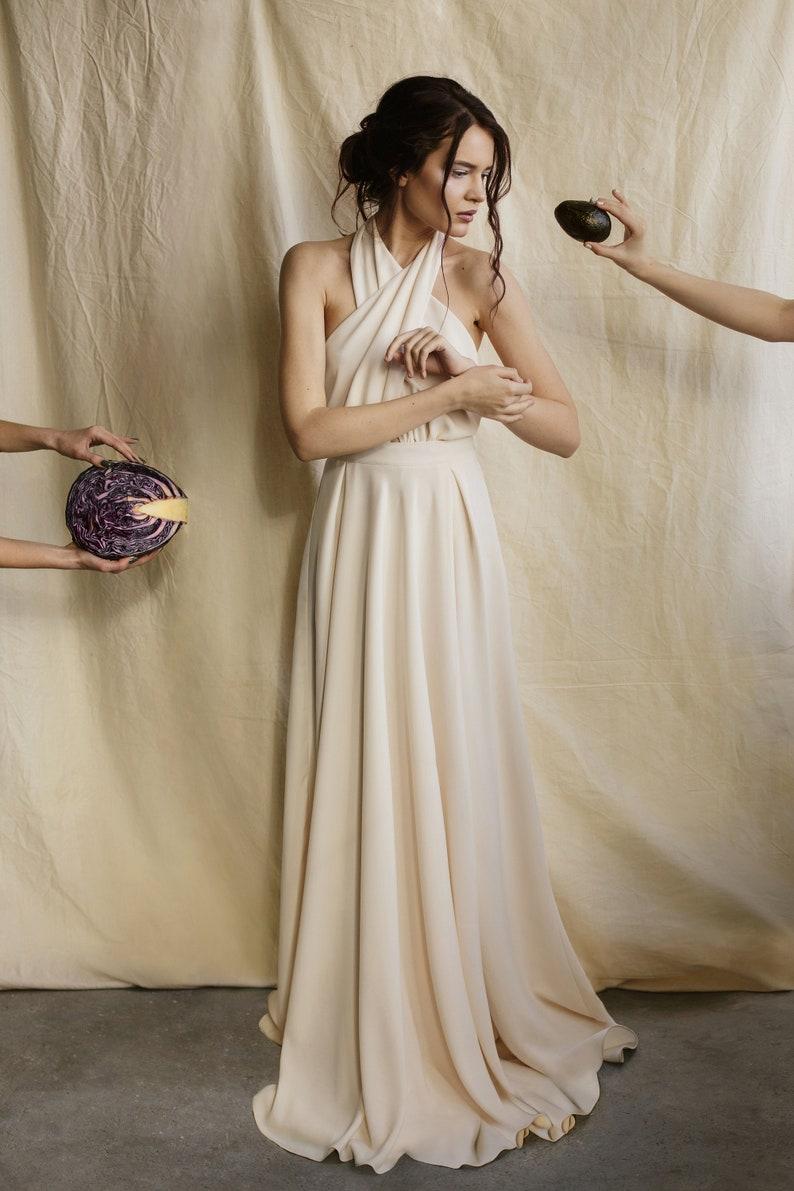 b39b530985e2 Minimalist wedding dress grecian simple modern dress two piece | Etsy
