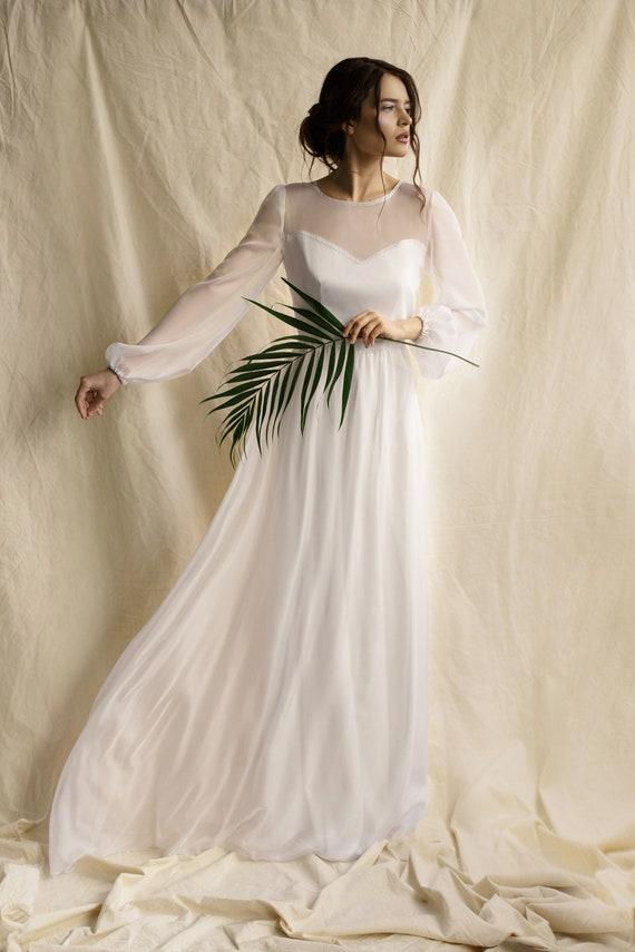 Long Puff Sleeve Wedding Dress Simple Minimalist Wedding Dress Etsy