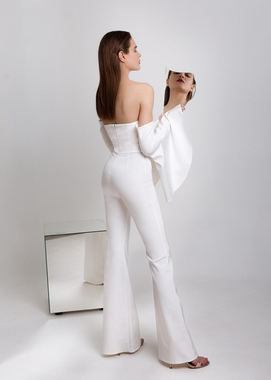 1ed0e8e84e4f Minimalist white wedding evening jumpsuit for event knee flare | Etsy