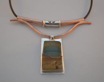 Silver & Copper Pendant with Jasper Gem Stone