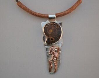 Ammonite, Silver & Copper Pendant
