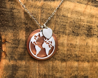 World map necklace etsy world map necklace for women wanderlust world pendant charm necklace gift just for her gumiabroncs Choice Image