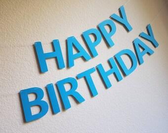 Blue Happy Birthday Banner Boy Customize Light Party Decor BDay