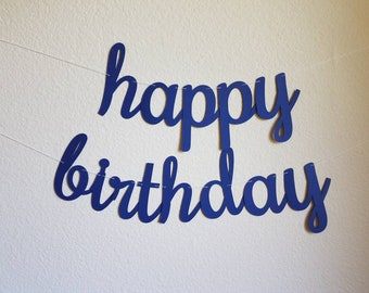 Navy Blue Happy Birthday Banner Custom Customize Party Decorations
