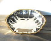 Vintage ONEIDA Stainless 18 8 Serving Bowl,Stainless steel Scallop Bowl with Gold Trim,Made in USA, 10 quot