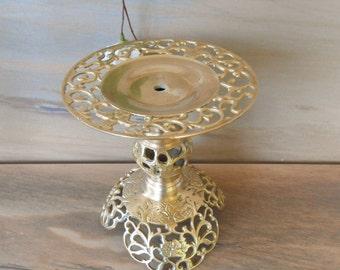 "Vintage Brass Candle Holder,  Ornate Candle Holder,Heavy,Pierce Brass Candlestick, Adjustable Height Candlestick/6"" T/"